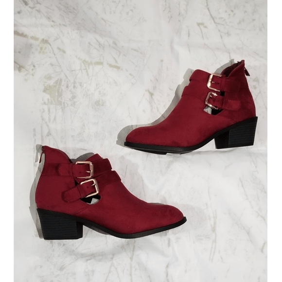Red Double Buckle Boots